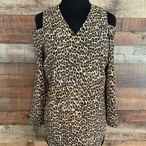 Chico leopard cold shoulder blouse, Chico's 0